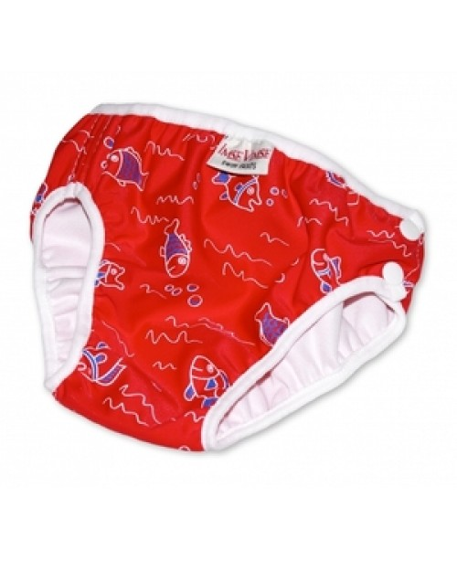 Swim Diaper, Red with Fish