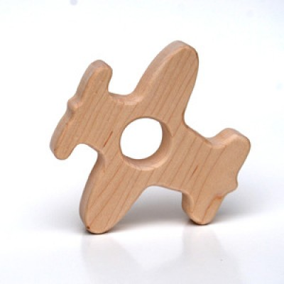 Natural Wood Teether Toy, Airplane