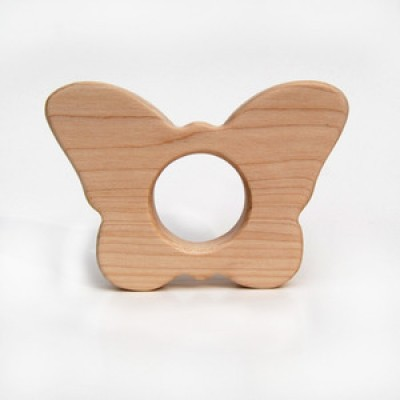Natural Wood Teether Toy, Butterfly