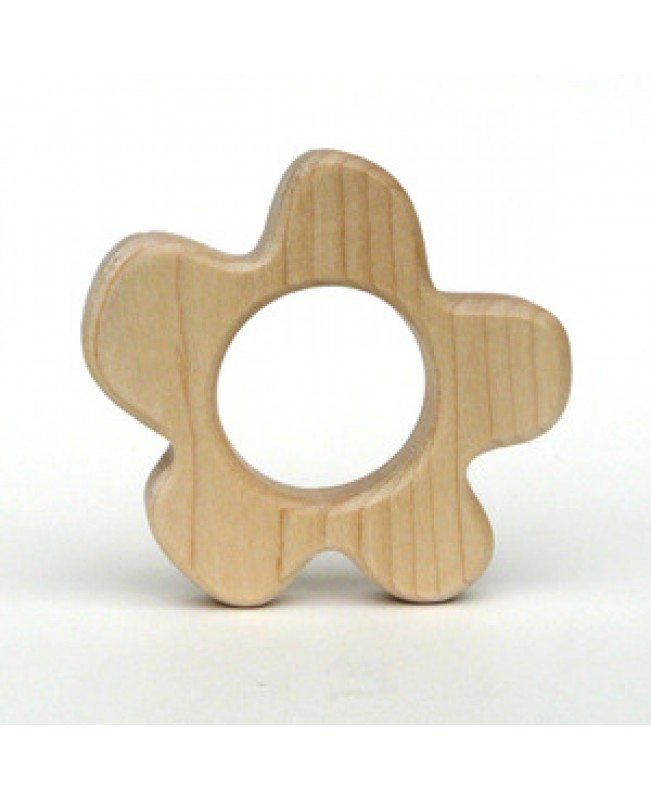 Natural Wood Teether Toy, Flower