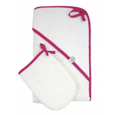 Hooded Bath Towel & Mitten Set, Pink