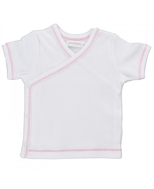 Side Snap Organic Tee, Pink Trim