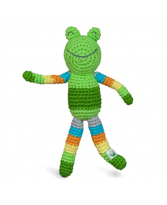 Animal Friend Rattle, Organic Green Frog