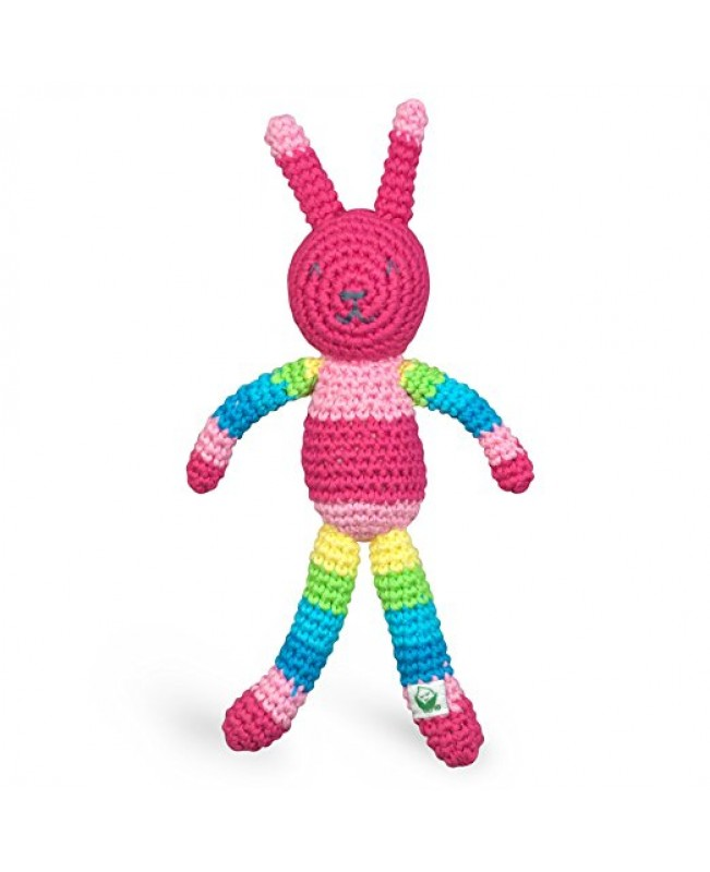 Animal Friend Rattle, Organic Pink Bunny
