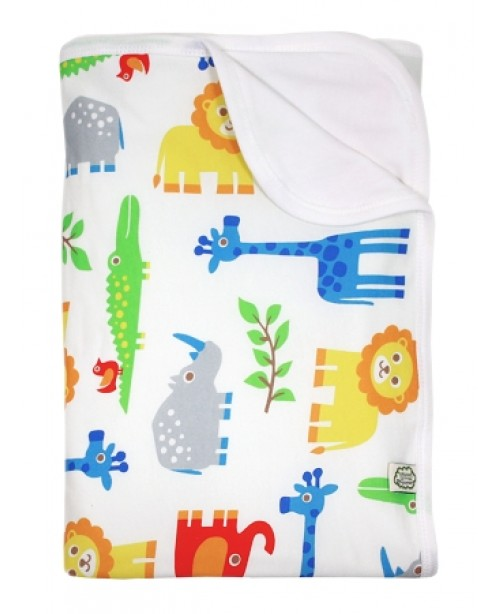 Organic Cotton Baby Blanket - Zoo Animals