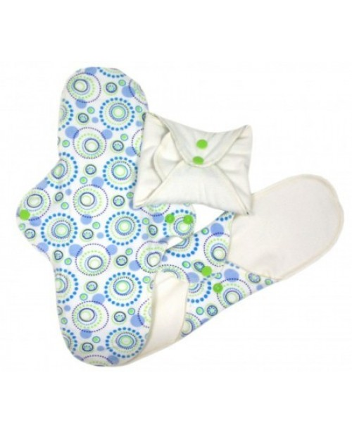 Sanitary Reusable Organic Pads - Blue & Green ...