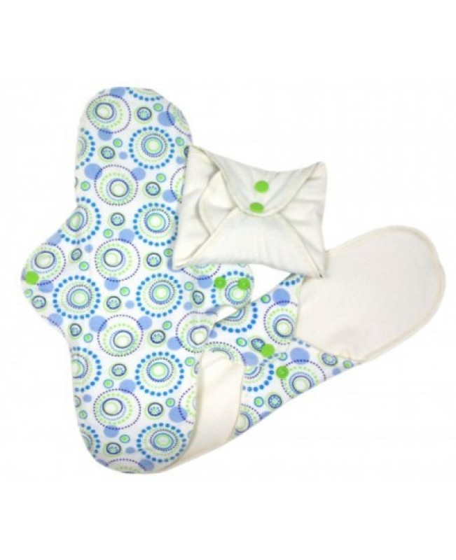 Sanitary Reusable Organic Pads - Blue & Green Circles, Night Time