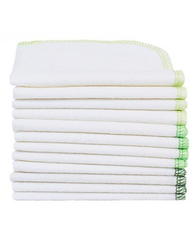 Washable Wipes, Organic Flannelette 12-Pack - Forest